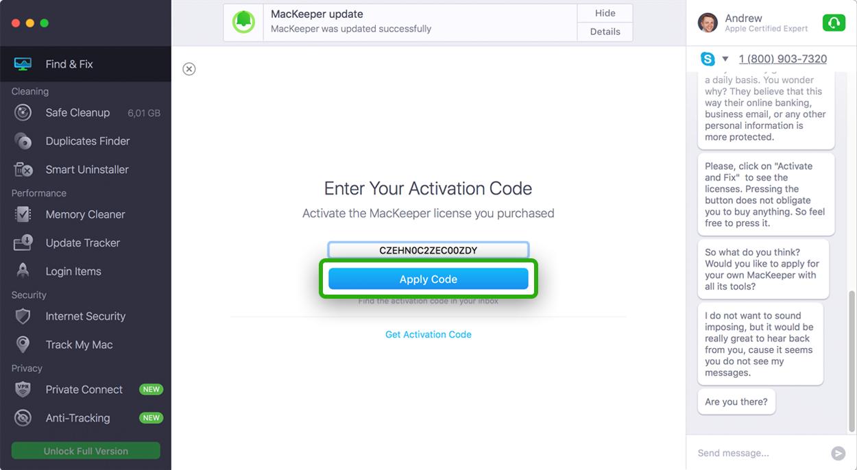 MacKeeperEnter Activation Code