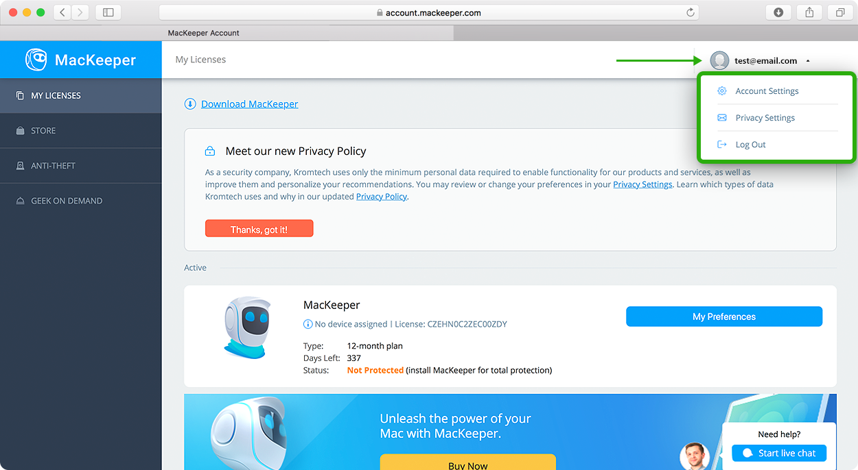 manage your MacKeeper account