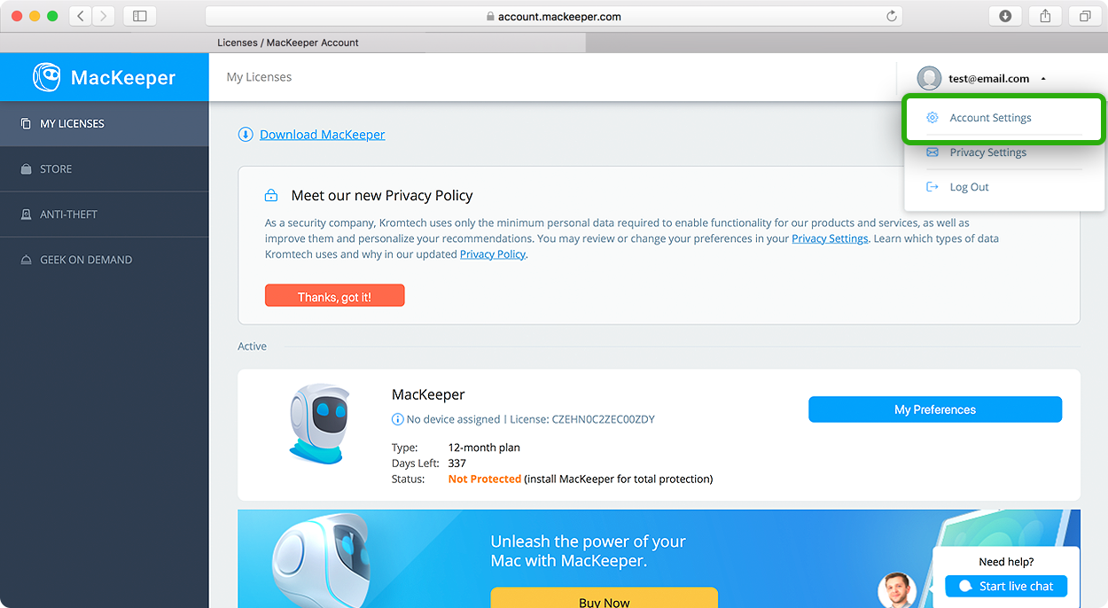 Change your MacKeeper email and password