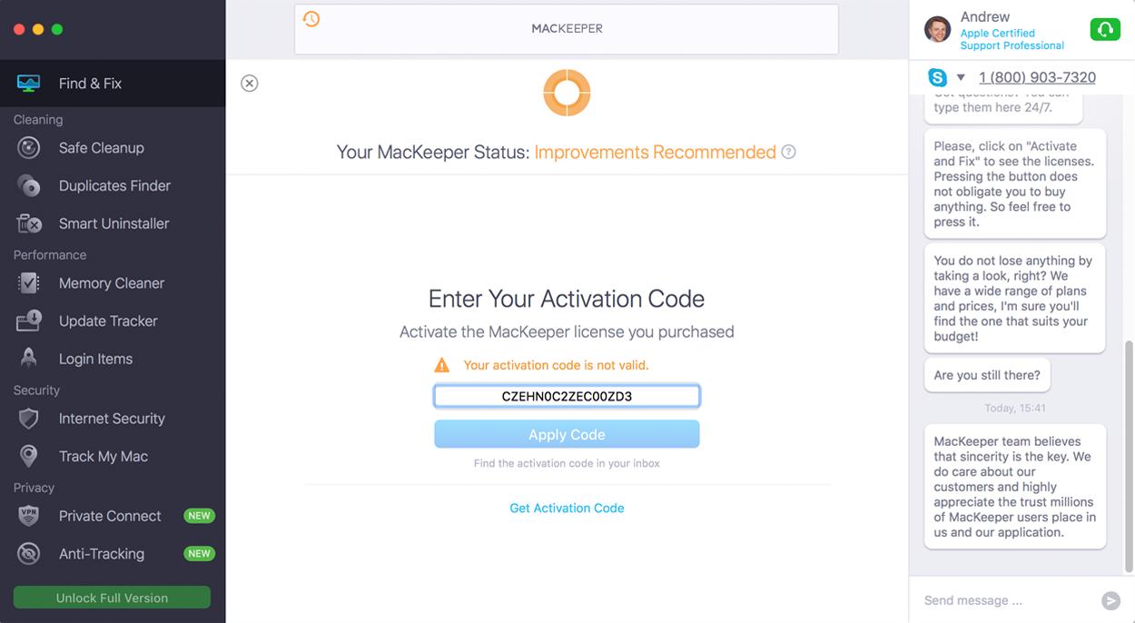 Invalid activation code MacKeeper